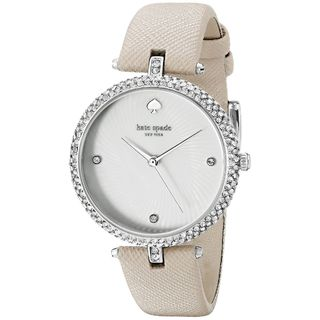 Kate Spade Women's KSW1012 'Eldridge' Crystal Beige Leather Watch