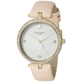 Kate Spade Women's KSW1013 'Eldridge' Crystal Beige Leather Watch