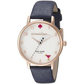 Kate Spade Women's KSW1040 'White 5 O'Clock Metro' Blue Leather Watch|https://ak1.ostkcdn.com/images/products/11105234/P18109151.jpg?impolicy=medium