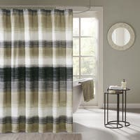 Madison Park Essentials Barret Printed Taupe/ Olive Shower Curtain