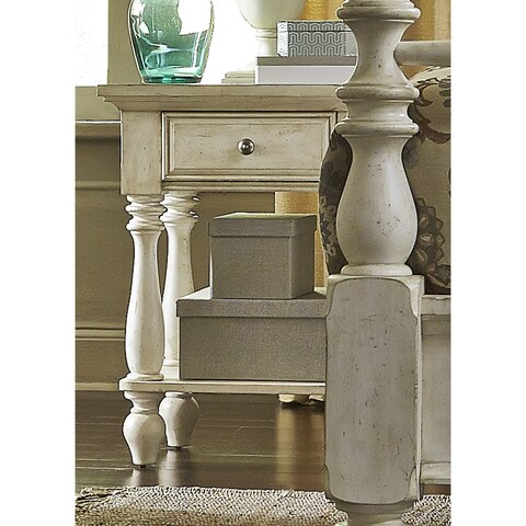 High Country Pine White Washed Chairside Nightstand
