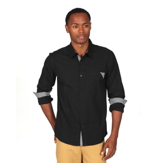 Something Strong Men's Black Solid Woven Cottong Button Down Shirt