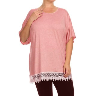 MOA Collection Plus Size Women's Lace Hem Top