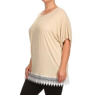 MOA Collection Plus Size Women's Lace Hem Top