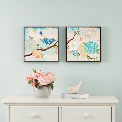 Intelligent Design Blooming Florals Gel Coat 2-piece Deco Box Framed Art Set - Blue
