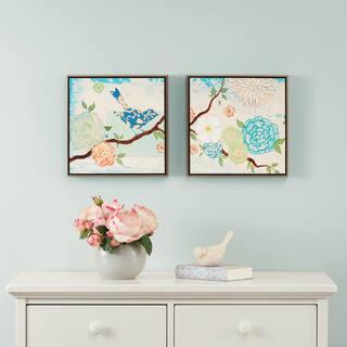 Intelligent Design Blooming Florals Gel Coat 2-piece Deco Box Framed Art Set - Blue