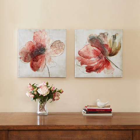 Madison Park Lovely Blooms Hand Embellished Canvas 2-piece Set