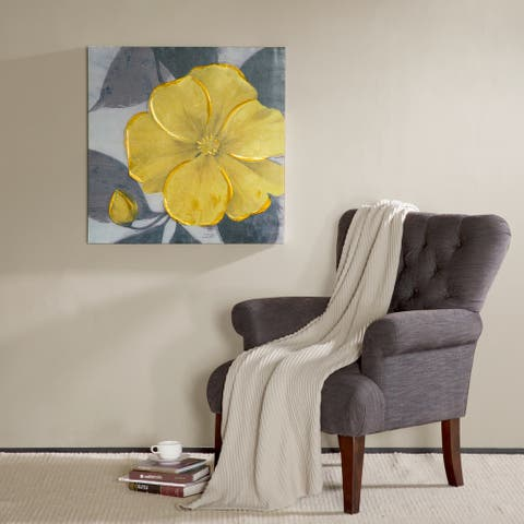 Copper Grove Yellow Bloom Hand Embellished Canvas
