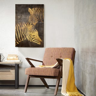 INK + IVY Lux Zebras Gold Metallic Canvas with Gold Foil Embellishment