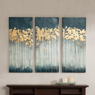 Madison Park Midnight Forest Gel Coat Canvas with Gold Foil Embellishment 3-piece Set|https://ak1.ostkcdn.com/images/products/11105369/P18109267.jpg?impolicy=medium