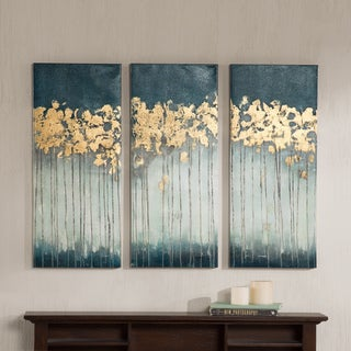Porch U0026 Den Midnight Forest Gold Foil Embellished 3 Piece Canvas Set
