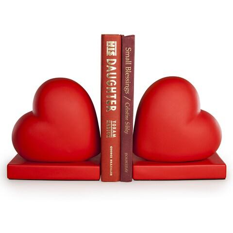 Danya B. Red Hearts Bookend Set