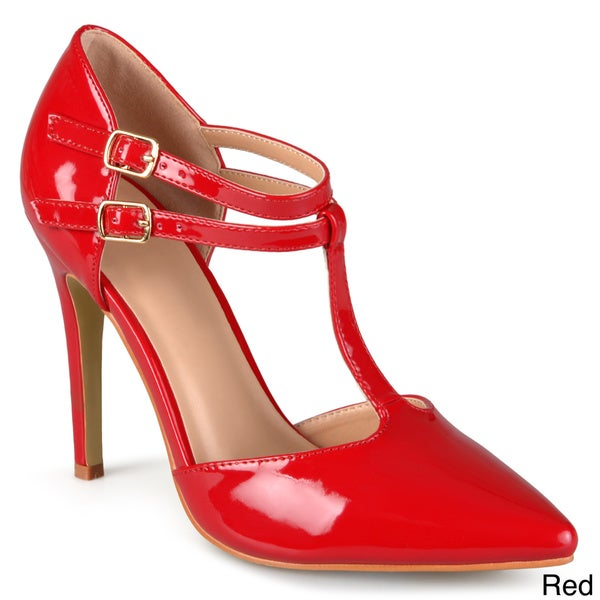 RED LEATHER LOW HEEL TAP SHOES SIZE 11