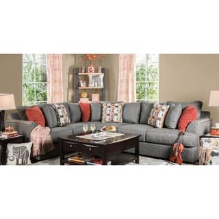 Furniture of America Posille Contemporary Grey Fabric L-Shaped Sectional
