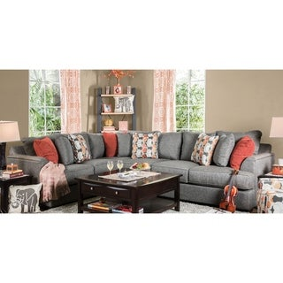 Furniture Of America Posille Contemporary Grey Fabric L Shaped Sectional