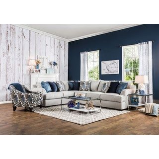 Furniture of America Rosille Contemporary 2-piece Fabric Sectional and Chair Set