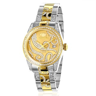 Luxurman Women's 18k Two-tone Gold Plated Diamond Watch