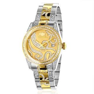 Luxurman Women's Two-Tone Gold Plated Diamond Watch