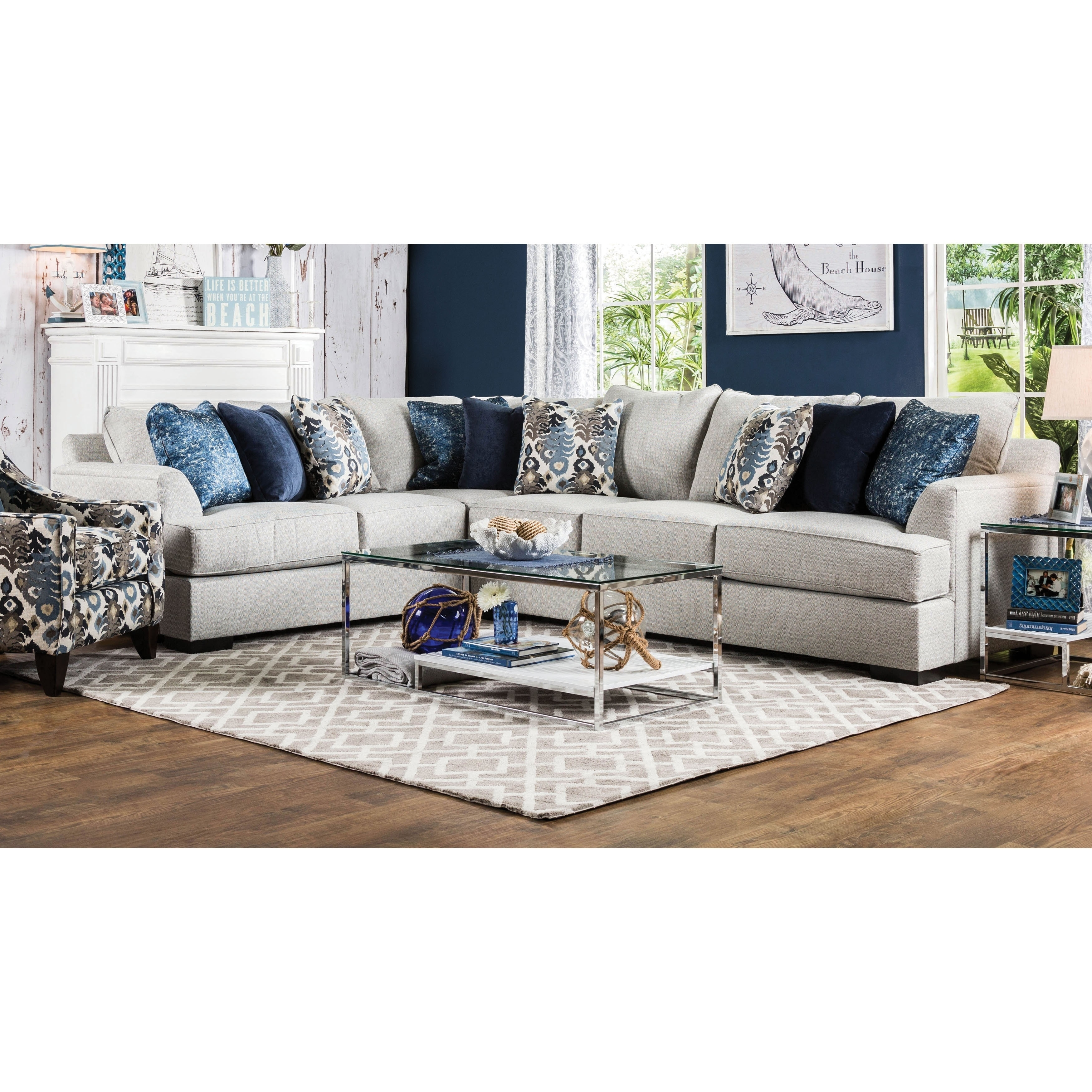 Furniture of America Rosille Contemporary Light Grey L-shaped Sectional