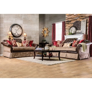 Furniture of America Keddman Formal 2-piece Two-Tone Tufted Sofa Set