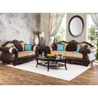 Furniture of America Danford Formal 2-piece Two-Tone Scrolled Arm Sofa Set