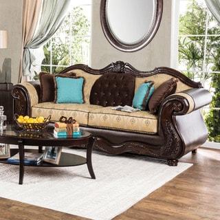 Furniture of America Danford Formal Two-Tone Scrolled Arm Sofa