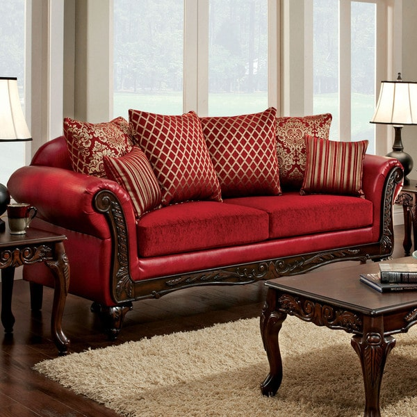 Bon Furniture Of America Cardinal Formal Traditional Red Sofa