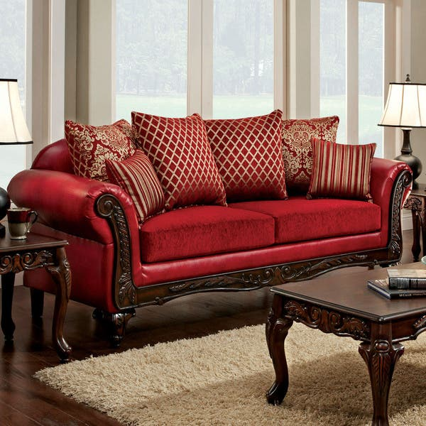 Cardinal Traditional Red Sofa by FOA
