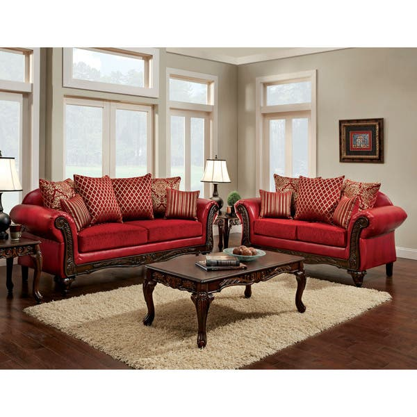 Furniture of America Erun Traditional Red Faux Leather Padded Sofa