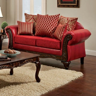 Furniture of America Erun Traditional Red Faux Leather Padded Loveseat