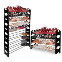 OxGord Black Shoe Rack Tower Storage Organizer for up to 50 Pairs of Shoes