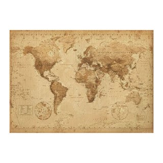 Antique World Map Print (54.6-inch x 39-inch)