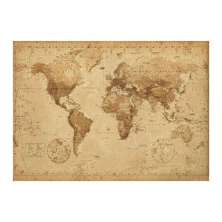 Antique World Map Print (54.6-inch x 39-inch)