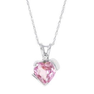 H STAR 10k White Gold Created Pink Sapphire and Diamond Accent Pendant Necklace (I-J, I2-I3)