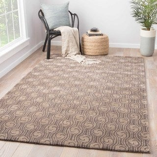 Boreas Handmade Abstract Brown/ Taupe Area Rug (5' X 8')