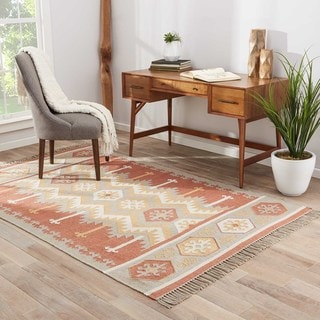 """Sonoran Indoor/ Outdoor Geometric Orange/ Beige Area Rug (3'6"""" X 5'6"""")"""