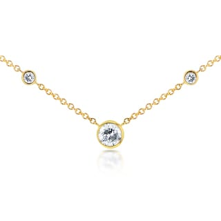 Annello by Kobelli 14k Yellow Gold 1/4ct TDW 3-Bezel Round Diamond Necklace (G-H, I1-I2)