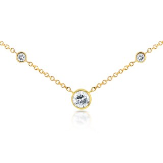 Annello by Kobelli 14k Yellow Gold 1/4ct TDW 3-Bezel Round Diamond Necklace