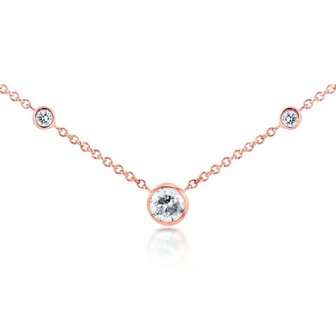 Annello by Kobelli 14k Rose Gold 1/4ct TDW 3-Bezel Round Diamond Necklace