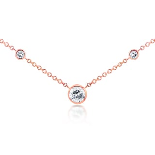 Annello by Kobelli 14k Rose Gold 1/4ct TDW 3-Bezel Round Diamond Necklace (G-H, I1-I2)