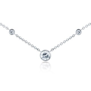 Annello 14k White Gold 1/4ct TDW 3-Bezel Round Diamond Necklace (G-H, I1-I2)