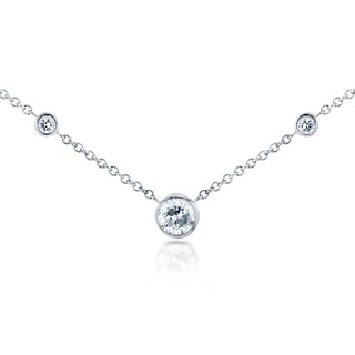 Annello by Kobelli 14k White Gold 1/4ct TDW 3-Bezel Round Diamond Necklace