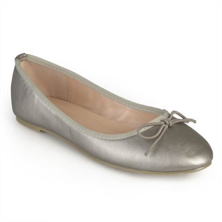 Journee Collection Women's 'Vika' Black/Blue/Grey Rubber Round Toe Bow Ballet Flats