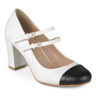 Journee Collection Women's 'Rory' Two-tone Cap Toe Mary Jane Pumps
