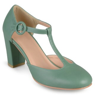 Journee Collection Women's 'Talie' Round Toe T-strap Pumps