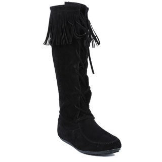 Coshare Women's Fashion Baylee-09 Moccasin Knee High Flat Boots