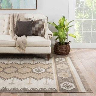 Sonoran Indoor/ Outdoor Geometric Gray/ Taupe Area Rug (5' X 8') - 5' x 8'