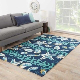 Indoor/Outdoor Coastal Pattern Blue/Ivory Polypropylene Area Rug (5' x 7'6)