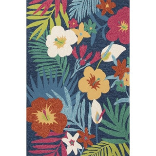 Indoor/Outdoor Floral & Leaves Pattern Blue/Pink Polypropylene Area Rug (5' x 7'6)