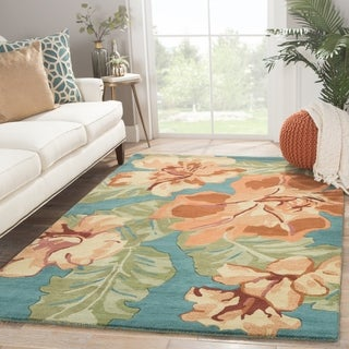 Contemporary Floral & Leaves Pattern Orange/Blue Wool Area Rug (5' x 8')